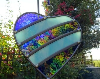 Made to order - Wedding or Wedding Anniversary Stained Glass Heart - Garden Tree  or Trellis Ornament Decoration Suncatcher