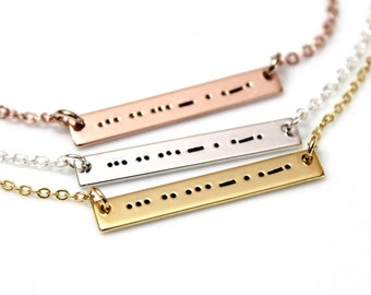 Aunt Morse Code Necklace, Morse Code Necklace, Morse Code Jewelry, Sterling Silver Bar Necklace, Aunt Necklace, Auntie Gift, Aunt Birthday