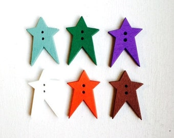 40 pcs Wooden Buttons, Mixed Color, Star Shape, 2 Holes, Bout 061