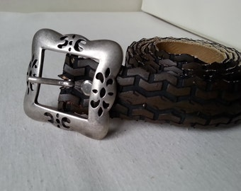 Belt from old bicycle tire, painted brown