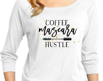 Ladies Coffee Mascara Hustle 3/4 Sleeve Scoop Neck 21181GL4-DM482