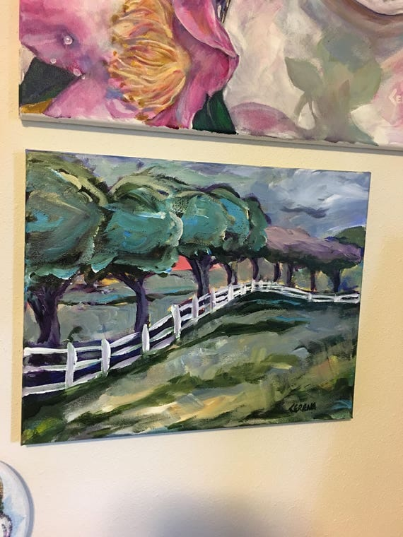 Painting, landscape, colorful trees, serene meadow, fence, impressionistic, expressionistic, Security is a double edged sword~ CerenaLevene