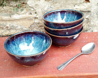 Blue Cereal Bowl Set of Four, Handmade Ceramic, Ready to Ship