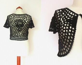 Sale Vintage Black Handmade Short Sleeved Crocheted Shrug Bolero / size S