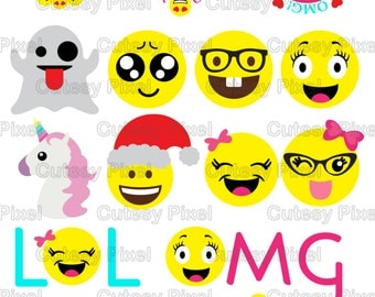 Emoji's Designs Svg cutting file, unicorn svg, cute emojis svg, DXF, PNG Cricut Design Space, Silhouette Studio,Digital Cut Files