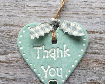 THANK YOU turqouise strawberry Keepsake Handmade Air Dry Clay Heart with Strawberry Detail - Can be Used as a Gift Tag, Wall or Door Hanging