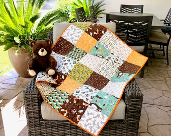 Baby quilt, woodland nursery bedding, foxes bears and bunnies  crib Quilt bedding, modern woodland Patchwork quilt.