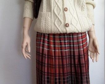 Evan Picone skirt, L, plaid skirt, wool skirt, plaid wool skirt, fall skirt, winter skirt, pleated skirt