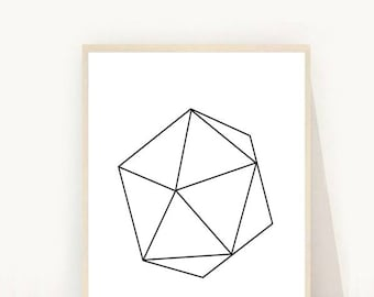 Geometric Art, Geometric Poster, Printable Art, Black and White Print, MinimalistArt, Scandinavian Art, Abstract Art Print, Wall Decor