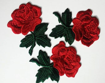 Flower patch, Sew On patch, Rose patch, Rose applique, Embroidered flower applique, Large patch, Rose patches, embroider patch