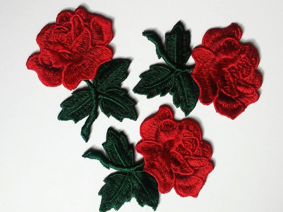 Flower Patch Sew On Patch Rose Patch Rose Applique Embroider