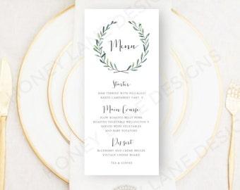 Personalised Printable, Wedding Menu Card, Josie Collection - WC62