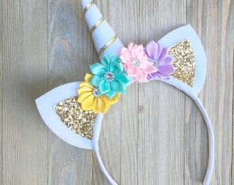 Unicorn headband - yellow Aqua pink lavender gold - unicorn gift for girls - unicorn hair band - felt unicorn headband - unicorn horn