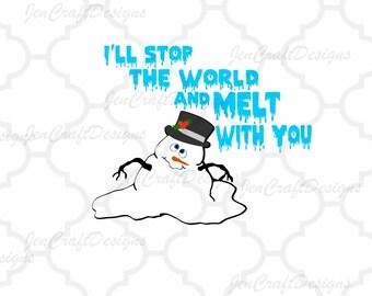 Melted Snowman face SVG Snowmen Melt with you Svg File digital cut file Snowman svg, Dxf, Eps, Png Instant Download