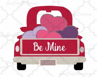 Valentine Heart Truck SVG Antique Vintage truck SVG classic truck svg cut, DXF, eps, png Cut ...