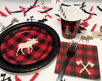 16-Set Buffalo Plaid - Lumberjack Baby Shower - Channel the Flannel - Lumberjack Party - Lumberjack Birthday - Party Plates - First Birthday