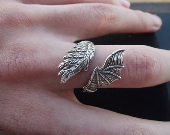 Duality Ring Angel & Demon wings Full Silver 3D Print and Cast Ring