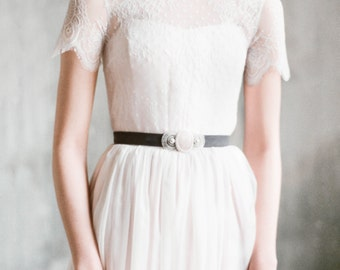 Ingoda - pink short sleeve wedding dress with sheer back, chiffon wedding gown with corset bodice, dotted tulle colored dress, milamira gown