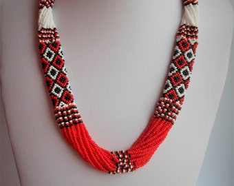 Ukrainian beaded necklace Gerdan Ukrainian embroidery Jewelry Ukrainian Ukrainian ethnic necklace red necklace coral Ukrainian Weaving beads