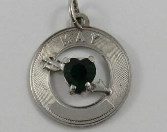 May Heart Birthstone Sterling Silver Vintage Charm For Bracelet