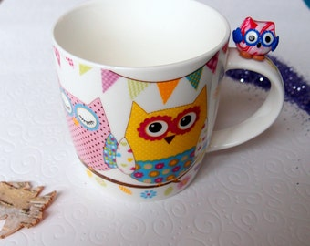 Owl cup, Tea gift, Owl mug, polymer clay owl, animal mug, polymer clay gift