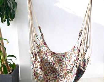 "Hammock chair stamped fabric - Hanging hammock nordic design - Hammock scandinavian style - HAMMOCK (40 ""- 100 cms.)"