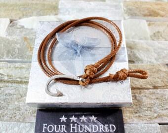 Hook bracelet. Leather bracelet. Mens leather bracelet. Mens bracelet. Man leather bracelet. GET 25% OFF! Coupon Code: FREELEATHER
