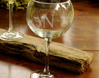 Monogrammed Red Wine Glass - Wine Gifts