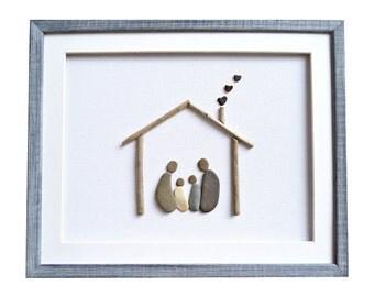 New home housewarming gift, Pebble art family of four, Driftwood art, Gift idea for family, Framed wall art, Anniversary present, Home decor