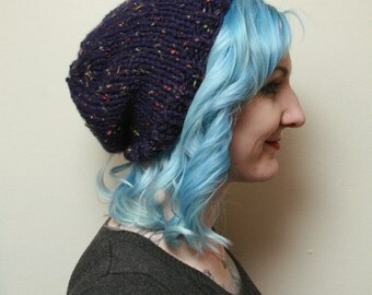 Deep Blue Beanie Knit Hat with multi-colored flecks