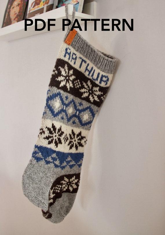 Personalized Christmas Stocking pattern knit PDF by FaroeKnit