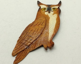 Vintage Leather Owl Brooch- signed but cannot make out