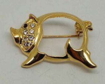 Vintage Gold Tone Pig Brooch