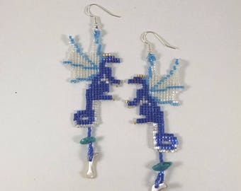 Beaded Dragon Earrings, Blue and Silver Fairy Dragon Earrings with Turquoise and Shell Treasure