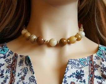 Yellow Beaded Agate. Yellow Agate Beaded Necklace. Boho Bead Necklaces. Short Beaded Necklace. Black Friday Sale. Cyber Monday.