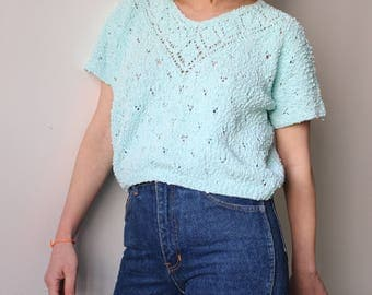 Mint to water / Pull handle short / Vintage / green water / sweater Crop top spring / hand made Tricote / 80's