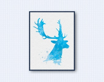 Fallow Deer Watercolor Poster 3