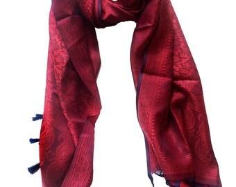 Banaras silk scarf-Tassel scarf- fringe scarf,Brocade- red & navy blue Paisley Silk Scarf,wrap,Silk Stole,kashmiri Scarf