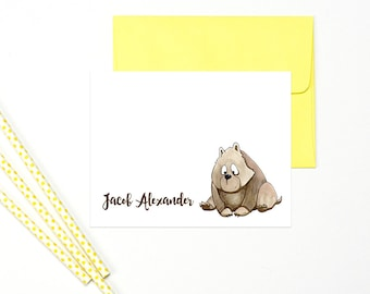 Forest Animals Stationary for Kids, Animal Stationary for Boys, Woodland Animals Note Cards for Kids, Personalized Kids Stationary Set of 10