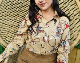 Vintage 80's Native american long sleeve blouse