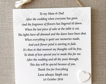 Parents Thank You Wedding Gift Personalised Mum Dad Plaque W235