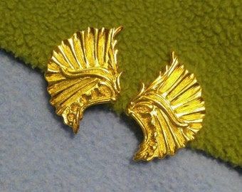 Lovely Golden Fan Clip Earrings- Vintage, Bright Finish