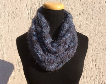 Tube Blue scarf knitted circular needles neck warmer for Woman
