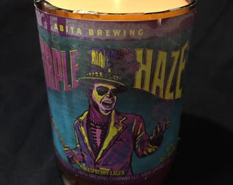 Purple Haze candle made from recycled beer bottle
