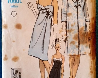 "Rare vintage 1960s Special Design empire line evening dress coat sewing pattern - Vogue 6765 - size 16 (36"" bust, 28"" waist, 38"" hip) - 1966"