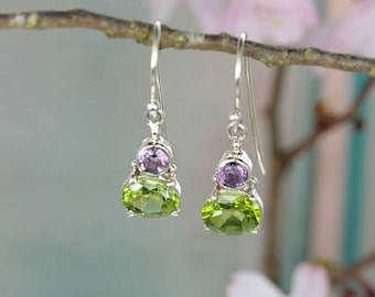 Sterling Silver Drop Earrings with Peridot & Amethyst Stones / Shamrock / August Birthstone Hook Earrings