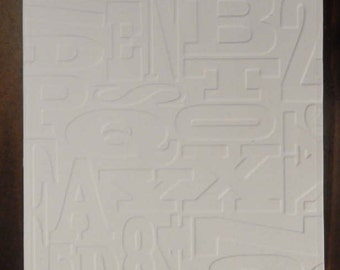 Alphabet, Letters, Embossed Cardstock, Embossed Sheets, Embossed Card Fronts
