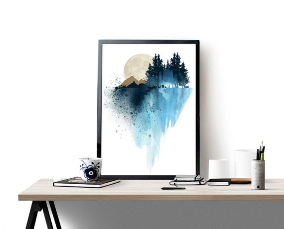 Blue Print Wall Decor : Blue mountain wall art print watercolor poster nature