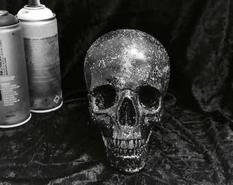 Black and white skull ornament | Glitter | Skull home decor | Skull gift | Large skull ornament | Custom made skull