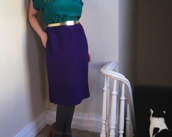 Bright Green & Blue Vintage Silk Dress by Liz Claiborne Dresses - Jewel Tone Color Block Button Back